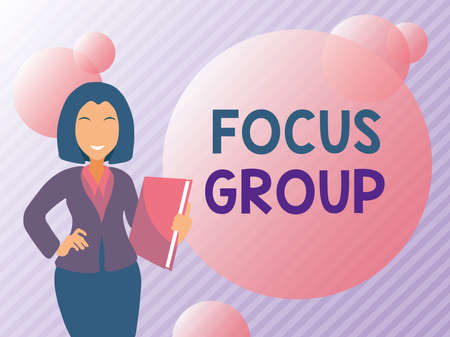 Conceptual display Focus Group. Business approach consist of carefullyselected participants to provide feedback Abstract Discussing Important News, Explaining And Reporting Concept