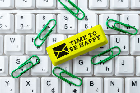Writing displaying text Time To Be Happy. Business concept meaningful work Workers with a purpose Happiness workplace Creating New Programming Guidebook, Typing Program Source Codes
