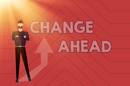 Text sign showing Change Ahead. Business concept Some alterations waiting to happen Perspective Standby Gathering Online Documents And Informations, Entering And Recording Data Stock Photo