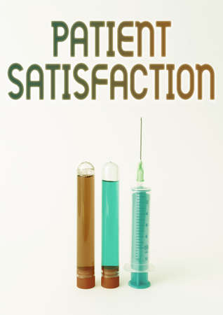Handwriting text Patient Satisfaction. Business idea measure of the extent to which a patient is content Laboratory Testing And Analyzing Substance New Medical Research