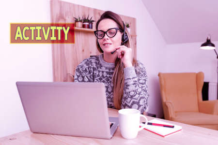 Conceptual display Activity. Business showcase the condition where many things are happening or move around Attending Online Meeting, Creating New Internet Video, Playing Video Games