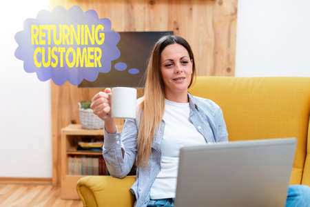 Writing displaying text Returning Customer. Business overview customer returns again and again to purchase a good Abstract Giving Business Advice Online, Spreading Internet Presence Stock Photo