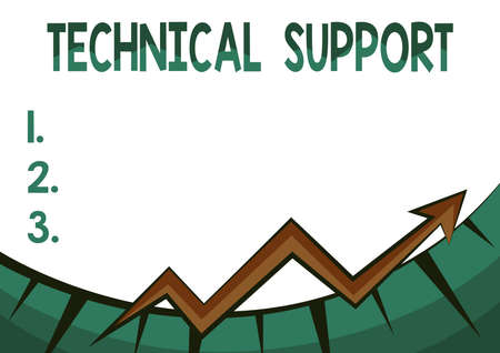 Text sign showing Technical Support. Business showcase a service provided by a hardware or software company Abstract Graph Presenting Progress, Moving Forward And Improving Concept