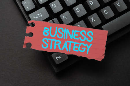 Conceptual display Business Strategy. Business approach working plan of a business for achieving its vision Entering New Product Key Concept, Typing Movie Subtitle Software
