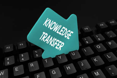 Handwriting text Knowledge Transfer. Business showcase sharing or disseminating of knowledge and experience Abstract Typing New Business Slogan Message, Writing Market Strategies