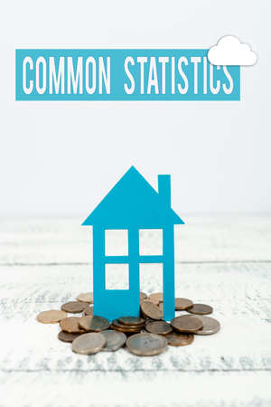 Hand writing sign Common Statistics. Business idea deals with collection analysis etc of numerical data Allocating Savings To Buy New Property, Saving Money To Build House
