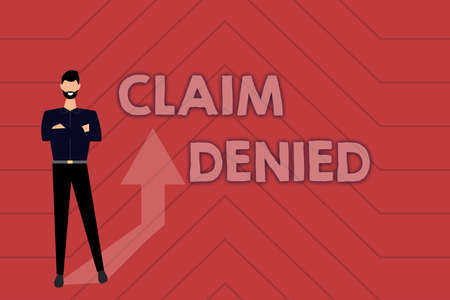 Conceptual caption Claim Denied. Word Written on Requested reimbursement payment for bill has been refused Gathering Online Documents And Informations, Entering And Recording Data