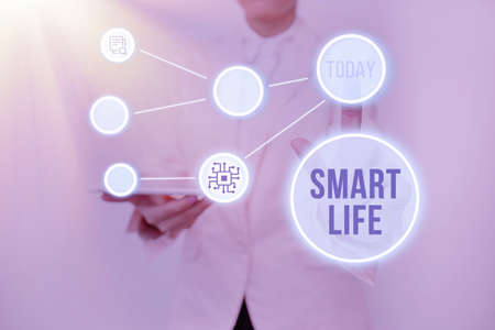 Sign displaying Smart Life. Concept meaning technology that works to make living enjoyable and comfortable Lady Holding Tablet Pressing On Virtual Button Showing Futuristic Tech. Stock Photo