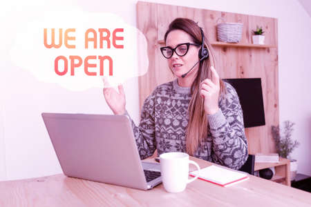 Sign displaying We Are Open. Business idea no enclosing or confining barrier, accessible on all sides Abstract Writing New Blog Content, Reading Online Articles And News