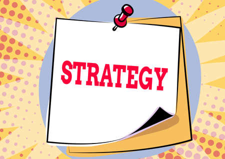 Hand writing sign Strategy. Conceptual photo action plan or strategy designed to achieve an overall goal Colorful Message Presentation Ideas, Sticky Notes Message Reminder