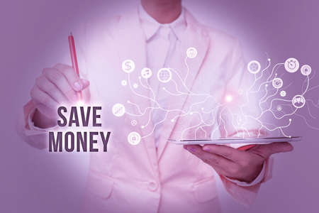 Hand writing sign Save Money. Business idea to budget or put money aside for the future or emergency Lady In Uniform Standing And Holding Tablet Showing Futuristic Technology.