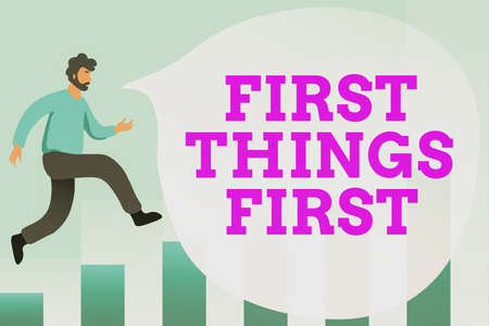 Text sign showing First Things First. Business approach Business, technology, internet, set your priorities and most important Debugging Programming Codes, Running And Testing New Computer Program