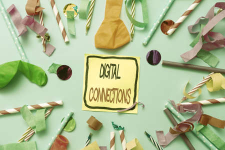 Hand writing sign Digital Connections. Business overview the online way to explore and build relationships Colorful Party Collections Flashy Celebration Stuff Birthday Festival Kit
