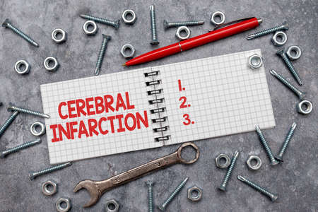 Text sign showing Cerebral Infarction. Concept meaning focal brain necrosis due to complete and long ischemia New Ideas Brainstoming For Maintenance Planning Creative Thinking Pen