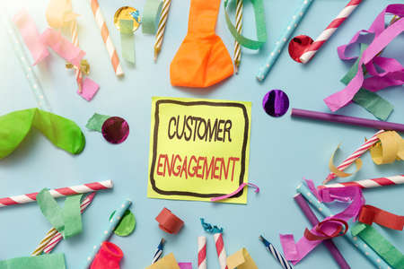 Text caption presenting Customer Engagement. Business overview the emotional connection between a customer and a brand Colorful Party Collections Flashy Celebration Stuff Birthday Festival Kit Reklamní fotografie