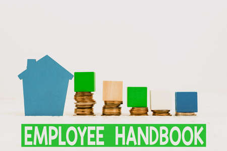Handwriting text Employee Handbook. Word Written on states the rules and regulations and policies of a company Selling Land Ownership, Investing On New Property, Creating Sale Contract Stock Photo