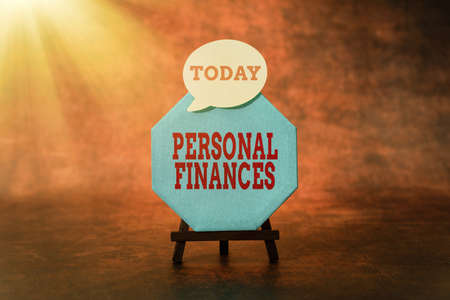 Sign displaying Personal Finances. Business idea the activity of managing own money and financial decisions Thinking New Bright Ideas Renewing Creativity And Inspiration Stock fotó