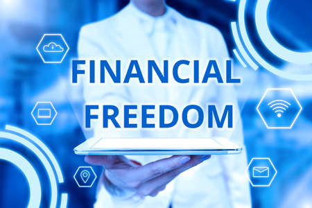 Conceptual caption Financial Freedom. Business concept make big life decisions without being stressed about money Lady Uniform Standing Tablet Hand Presenting Virtual Modern Technology