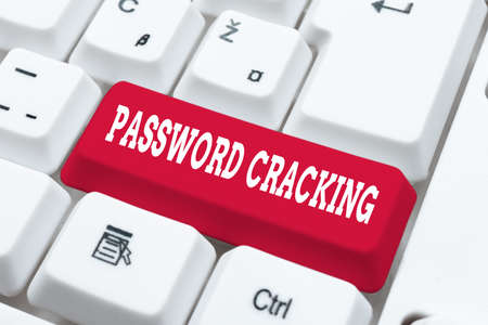 Text caption presenting Password Cracking. Internet Concept measures used to discover computer passwords from data Fixing Internet Problems Concept, Sending Error Report Online