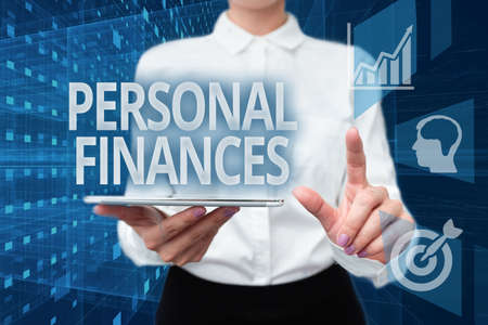Text sign showing Personal Finances. Word for the activity of managing own money and financial decisions Lady In Uniform Holding Phone Virtual Press Button Futuristic Technology.