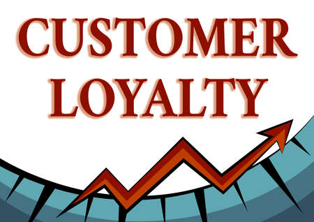 Handwriting text Customer Loyalty. Conceptual photo customers are devoted to a company s is products or services Abstract Graph Presenting Progress, Moving Forward And Improving Concept Foto de archivo