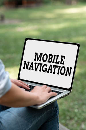 Text caption presenting Mobile Navigation. Business concept graphical user interface used to aid the vehicle driver Online Jobs And Working Remotely Connecting People Together