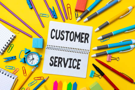 Inspiration showing sign Customer Service. Business overview process of ensuring customer satisfaction with a product Flashy School And Office Supplies Bright Teaching And Learning Collections Reklamní fotografie