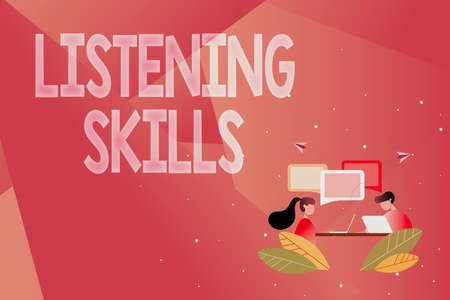 Conceptual display Listening Skills. Business approach ability to understand information provided by the speaker Abstract Conversation And Interview, Global Connectivity Concept Banco de Imagens