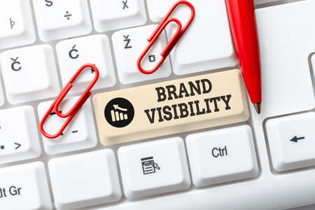 Inspiration showing sign Brand Visibility. Business idea frequency at which showing see your brand in search results Abstract Doing Virtual Bookkeeping, Listing New Product Online