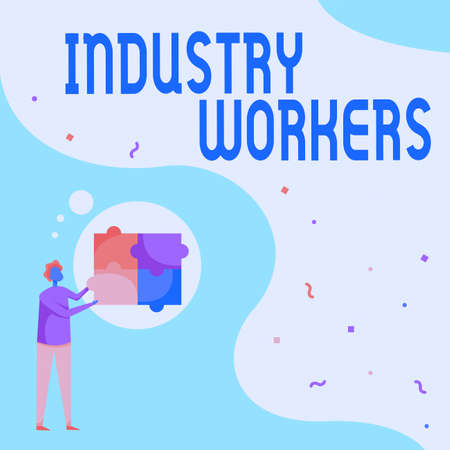 Conceptual display Industry Workers. Internet Concept one that works especially at manual or industrial labor Man Drawing Standing Fitting Four Jigsaw Puzzle Pieces.