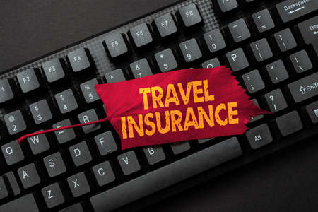 Conceptual caption Travel Insurance. Internet Concept covers the costs and losses associated with traveling Abstract Online Typing Contest, Creating Funny Online Book Ideas Banque d'images
