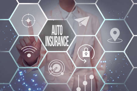 Conceptual display Auto Insurance. Business idea mitigate costs associated with getting into an auto accident Lady In Uniform Holding Tablet In Hand Virtually Tapping Futuristic Tech. Banque d'images