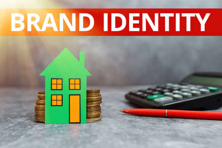 Writing displaying text Brand Identity. Concept meaning visible elements of a brand that identify and distinguish Computing House Upgrade Budget, New Household Budgeting Ideas Foto de archivo