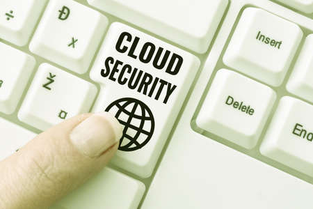 Sign displaying Cloud Security. Business overview protection of data stored online from theft and deletion Lady finger showing-pressing keyboard keys-buttons for update