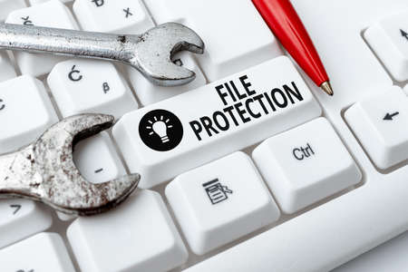 Inspiration showing sign File Protection. Concept meaning Preventing accidental erasing of data using storage medium Internet Browsing And Online Research Study Doing Maintenance And Repairs