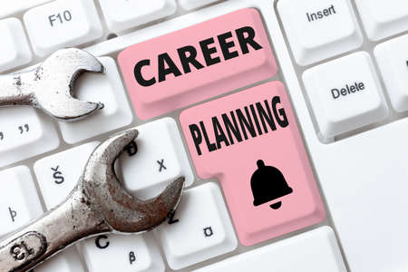 Inspiration showing sign Career Planning. Business concept A list of goals and the actions you can take to achieve them Creating New Programming Guidebook, Typing Program Source Codes Imagens