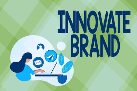 Text showing inspiration Innovate Brand. Business concept significant to innovate products, services and more Abstract Internet Browsing And Sending Emails, Remote Online Work Concept Banque d'images