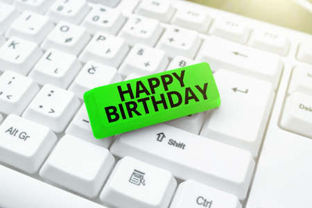 Text showing inspiration Happy Birthday. Internet Concept The birth anniversary of a person is celebrated with presents Abstract Recording List Of Online Shop Items, Editing Updated Internet Data Imagens