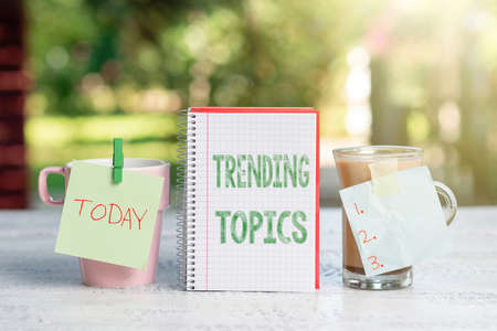Conceptual display Trending Topics. Business approach subject that experiences surge in popularity on social media Outdoor Coffee And Refresment Shop Ideas, Cafe Working Experience Stock Photo