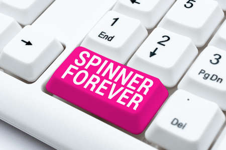 Hand writing sign Spinner Forever. Business overview stress reliever for showing who tend to fidget Flat top Offering Speed Typing Lessons And Tips, Improving Keyboard Accuracy Imagens