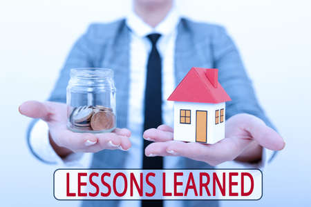 Conceptual caption Lessons Learned. Business concept information reflects positive and negative experiences Real Estate Agent Selling New Property, Architect Giving House Building Tip