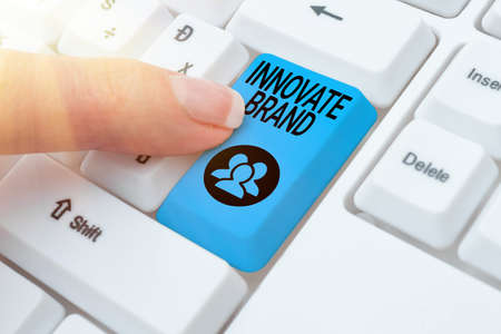 Conceptual caption Innovate Brand. Business approach significant to innovate products, services and more Typing Certification Document Concept, Retyping Old Data Files