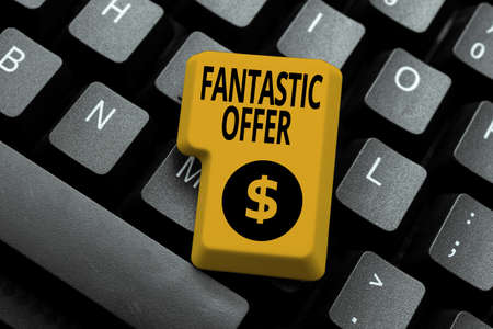 Writing displaying text Fantastic Offer. Business idea the seller accepts offers and is willing to negotiate Typing Online Tourist Guidebook, Searching Internet Ideas And Designs