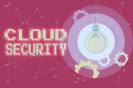 Hand writing sign Cloud Security. Business overview protection of data stored online from theft and deletion Critical And Logical Thinking Concept, Abstract Bright Ideas And Designs
