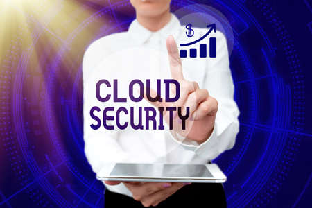 Hand writing sign Cloud Security. Business showcase protection of data stored online from theft and deletion Lady In Uniform Holding Phone Virtual Press Button Futuristic Technology. Banque d'images