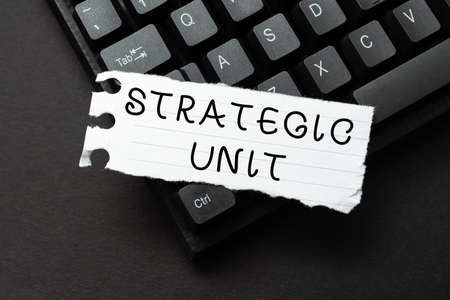 Text caption presenting Strategic Unit. Business concept profit center focused on product offering and market segment. Sending New Messages Online, Creating Visual Novels, Typing Short Stories
