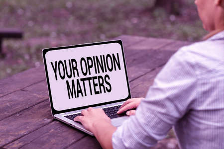 Hand writing sign Your Opinion Matters. Business showcase show you do not agree with something that just been said Voice And Video Calling Capabilities Connecting People Together