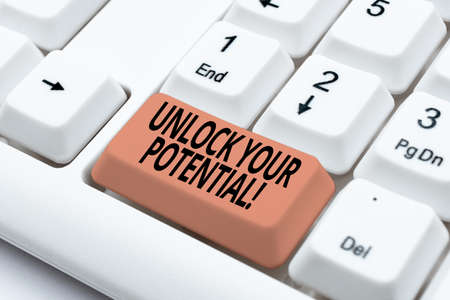 Handwriting text Unlock Your Potential. Internet Concept release possibilities Education and good training is key Developing New Interactive Website, Editing Programming Codes Banque d'images