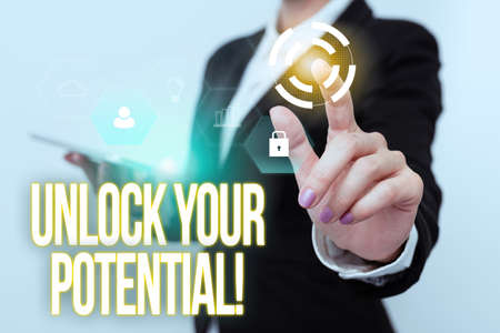 Text caption presenting Unlock Your Potential. Business approach release possibilities Education and good training is key Woman In Uniform Carrying Phone And Tapping Futuristic Display.