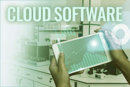 Text caption presenting Cloud Software. Word Written on Programs used in Storing Accessing data over the internet Hand Touching Screen Of Mobile Phone Showing Futuristic Technology S.